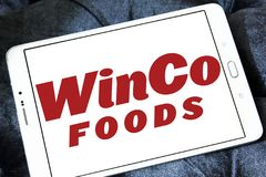WinCo Foods logo. Logo of WinCo Foods on samsung tablet . WinCo Foods, Inc. is a privately held, majority employee-owned American supermarket chain Stock Photography