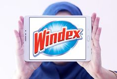 Windex cleaner brand logo. Logo of Windex cleaner brand on samsung tablet holded by arab muslim woman. Windex is a glass and hard surface cleaner royalty free stock image