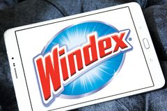 Windex cleaner brand logo. Logo of Windex cleaner brand on samsung tablet. Windex is a glass and hard surface cleaner royalty free stock photos