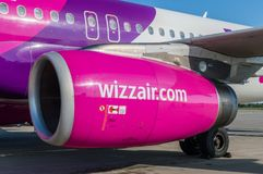 Logo of Wizzair on Airbus A320. royalty free stock photos