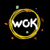Logo wok dish with noodles. Chinese cuisine. Black and yellow hipster banner hipster chinese cafe. Card, flyer fast food. Graphic vector illustration Royalty Free Stock Images