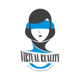 Logo woman with a black hair immersed in the virtual reality of cyberspace. Head of a woman in headphones and blue glasses vr. Vector illustration Royalty Free Stock Photography