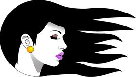 Logo Woman. Logo black-haired woman with gold earrings Stock Images