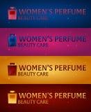 Logo Women`s Perfume. Beauty care. Classic bottle of perfume. Liquid luxury fragrance aromatherapy. Vector illustration. Logo Women`s Perfume. Beauty care Royalty Free Stock Photos