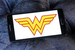 Wonder Woman logo. Logo of Wonder Woman on samsung mobile. Wonder Woman is a fictional superhero appearing in American comic books published by DC Comics stock image