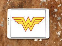 Wonder Woman logo. Logo of Wonder Woman on samsung tablet. Wonder Woman is a fictional superhero appearing in American comic books published by DC Comics stock photography