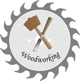 Logo for the wood crafts. Logo for the wood craft, with mallet, saw blade and chisel Royalty Free Stock Photo