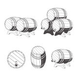 Logo wooden barrels for storage of drinks. Old winery, storage of a hard liquor. Royalty Free Stock Photography