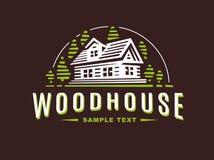 Logo wooden house on dark background royalty free illustration