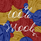 Logo 100% wool. Lettering handwritten 100% wool, woolen thread bundles Royalty Free Stock Photo