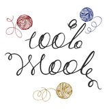 Logo 100% wool. Lettering handwritten 100% wool, woolen thread bundles Royalty Free Stock Images