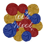 Logo 100% wool. Lettering handwritten 100% wool, woolen thread bundles Stock Photography