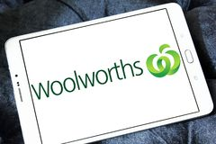 Woolworths Supermarkets logo. Logo of Woolworths Supermarkets on samsung tablet. Woolworths is an Australian supermarket grocery store chain owned by Woolworths Royalty Free Stock Image