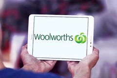 Woolworths Supermarkets logo. Logo of Woolworths Supermarkets on samsung tablet. Woolworths is an Australian supermarket grocery store chain owned by Woolworths Stock Photos