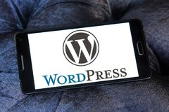 WordPress logo. Logo of WordPress on samsung mobile. WordPress is a free and open-source content management system CMS based on PHP and MySQL Royalty Free Stock Image