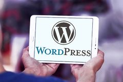 WordPress logo. Logo of WordPress on samsung tablet . WordPress is a free and open-source content management system CMS based on PHP and MySQL Royalty Free Stock Photos