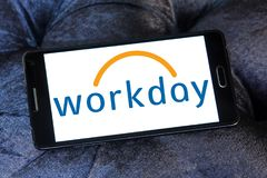 Workday company logo. Logo of Workday company on samsung mobile. Workday, Inc. is an on‑demand cloud-based financial management and human capital management Stock Image