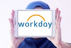 Workday company logo. Logo of Workday company on samsung tablet holded by arab muslim woman . Workday, Inc. is an on‑demand cloud-based financial management Stock Photography