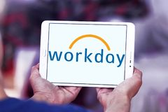 Workday company logo. Logo of Workday company on samsung tablet. Workday, Inc. is an on‑demand cloud-based financial management and human capital management Royalty Free Stock Photography