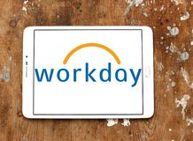 Workday company logo. Logo of Workday company on samsung tablet on wooden background. Workday, Inc. is an on‑demand cloud-based financial management and human Royalty Free Stock Photo