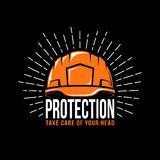 Logo with a working helmet. Sunburst and the word protection on a black background. Vector illustration Royalty Free Stock Images