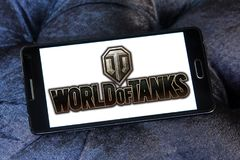 World of Tanks game logo. Logo of World of Tanks game on samsung mobile. World of Tanks WoT is a massively multiplayer online game developed by the Belarusian stock photos