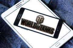 World of Tanks game logo. Logo of World of Tanks game on samsung mobile. World of Tanks WoT is a massively multiplayer online game developed by the Belarusian royalty free stock image