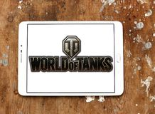 World of Tanks game logo. Logo of World of Tanks game on samsung tablet. World of Tanks WoT is a massively multiplayer online game developed by the Belarusian royalty free stock images