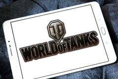 World of Tanks game logo. Logo of World of Tanks game on samsung tablet. World of Tanks WoT is a massively multiplayer online game developed by the Belarusian royalty free stock photos