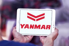 Yanmar diesel engine manufacturer logo. Logo of Yanmar company on samsung tablet. Yanmar is a Japanese diesel engine manufacturer. Their engines are used in a Royalty Free Stock Image