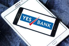 Yes Bank logo. Logo of Yes Bank on samsung mobile. Yes Bank is India`s fourth largest private sector bank Stock Photos