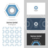 Logo for your company. Hexagon. Business card and seamless pattern Royalty Free Stock Images