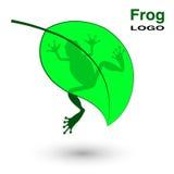 Logo z żabą na jaskrawym - zielony liść Obrazy Stock