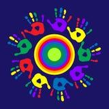 Logo z barwiącym okręgiem i palma drukami Zdjęcie Royalty Free