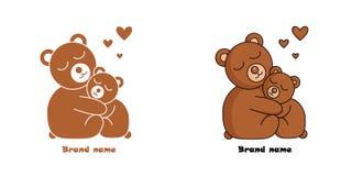 Logo z dwa ściska sercami i niedźwiedziami ilustracja wektor