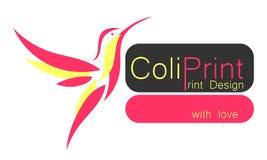 logo z różowym hummingbird royalty ilustracja