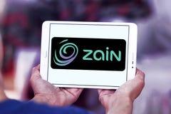 Zain telecommunications company logo. Logo of Zain telecommunications company on samsung tablet. it is a mobile telecommunications company founded in 1983 in Royalty Free Stock Image