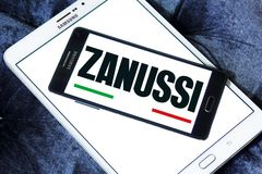 Zanussi company logo. Logo of Zanussi company on samsung mobile. Zanussi is an Italian producer of home appliances that was bought by Electrolux stock photography