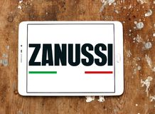 Zanussi company logo. Logo of Zanussi company on samsung tablet on wooden background . Zanussi is an Italian producer of home appliances that was bought by royalty free stock image