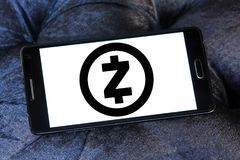 Zcash cryptocurrency logo. Logo of Zcash cryptocurrency on samsung mobile. Zcash is a cryptocurrency that grew out of the Zerocoin project, aimed at improving stock image