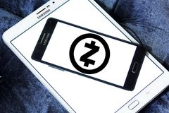Zcash cryptocurrency logo. Logo of Zcash cryptocurrency on samsung mobile. Zcash is a cryptocurrency that grew out of the Zerocoin project, aimed at improving stock photos