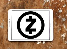 Zcash cryptocurrency logo. Logo of Zcash cryptocurrency on samsung tablet on wooden background. Zcash is a cryptocurrency that grew out of the Zerocoin project stock photo