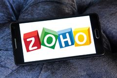 Zoho Corporation logo. Logo of Zoho Corporation on samsung mobile. Zoho Corporation is an information technology and business management software as a service royalty free stock photos