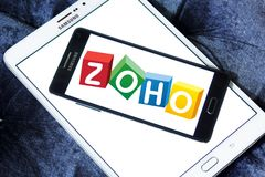 Zoho Corporation logo. Logo of Zoho Corporation on samsung mobile. Zoho Corporation is an information technology and business management software as a service Stock Image