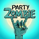Logo zombie party. Zombie hand shows rock gesture on the background of the moon. Logo zombie party, lettering. Zombie hand shows rock gesture on the background Stock Image