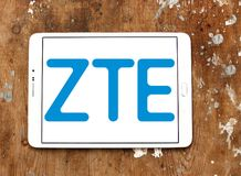 ZTE Corporation logo. Logo of ZTE Corporation on samsung tablet on wooden background. ZTE, is a Chinese multinational telecommunications equipment and systems Royalty Free Stock Photos