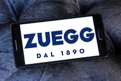 Zuegg company logo. Logo of Zuegg company on samsung mobile. Zuegg is a multinational company based in Verona specialized in fruit processing Royalty Free Stock Photography