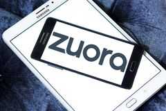 Zuora software company logo. Logo of Zuora company on samsung mobile. Zuora is an enterprise software company that designs and sells SaaS applications for Royalty Free Stock Photo