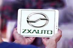 ZX Auto company logo. Logo of ZX Auto company on samsung tablet. ZX Auto, is a smaller Chinese producer of SUVs and pick-up trucks stock images