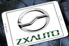 ZX Auto company logo. Logo of ZX Auto company on samsung tablet. ZX Auto, is a smaller Chinese producer of SUVs and pick-up trucks royalty free stock photography